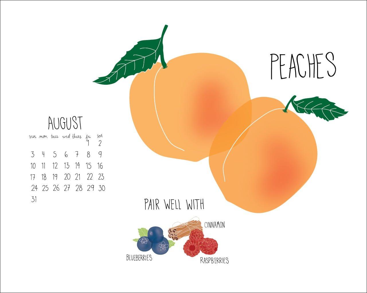 Spud August Peach Desktopcalendar Outline2