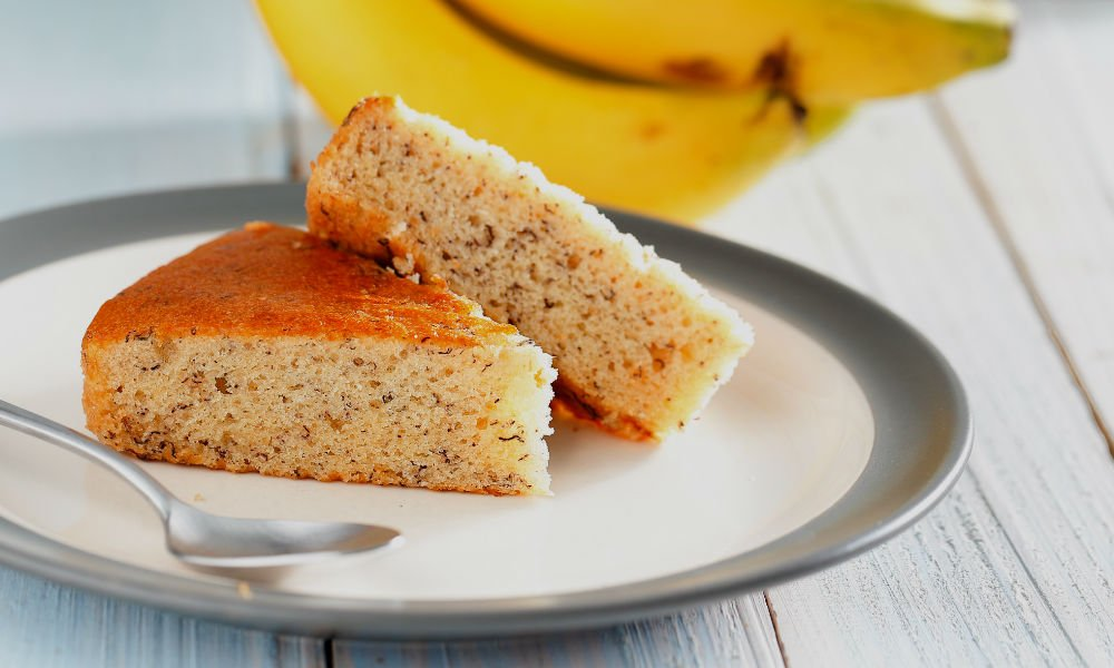 VEGAN OLD-FASHIONED BANANA CAKE WITH BUTTERCREAM STYLE FROSTING