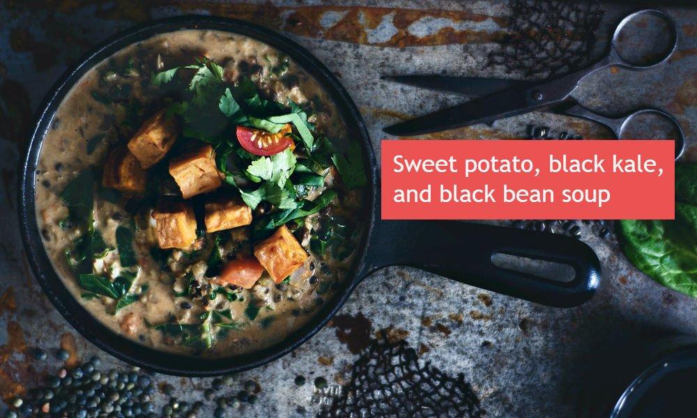Sherry Strong's Sweet Potato, Black Kale, Black Bean Soup.