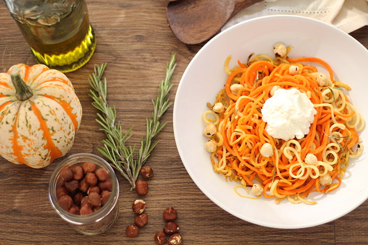 healthy vegetables parsnip and carrot noodles