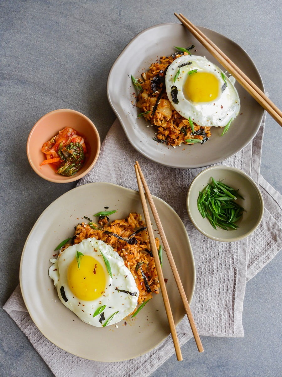 Kimchii fried rice is an awesome weeknight dinner! #easy #recipe