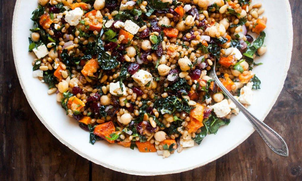 Wheat Berry Chickpea Salad