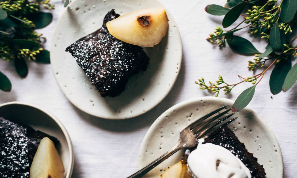 STICKY GINGERBREAD WITH POACHED CARDAMOM PEARS FROM SOPHIE MACKENZIE OF WHOLEHEARTED EATS