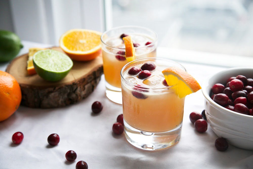 Orange Cranberry ginger kombucha cocktail