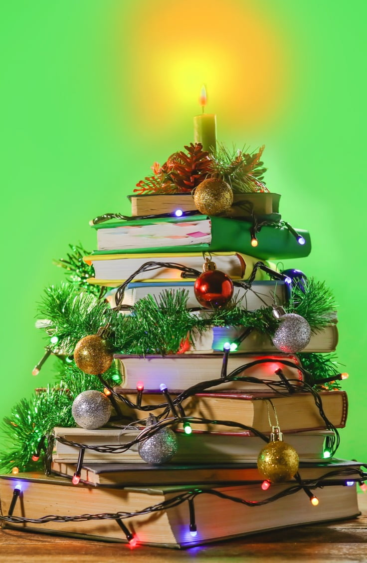pile of books christmas