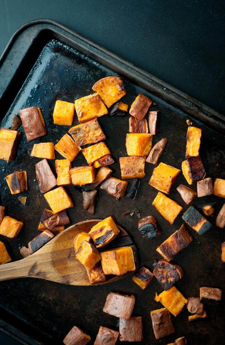 roasting pan of sweet potatoes