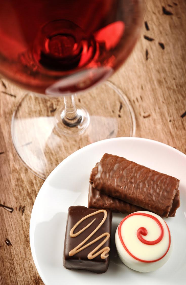 valentines day chocolate and wine