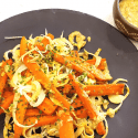 roasted carrots green garlic pesto
