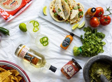 Collection Of Cinco De Mayo Ingredients, Mexican Food, And A Spicy Jalapeño Margarita