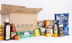 SPUD Cardboard Box Surrounded By Groceries