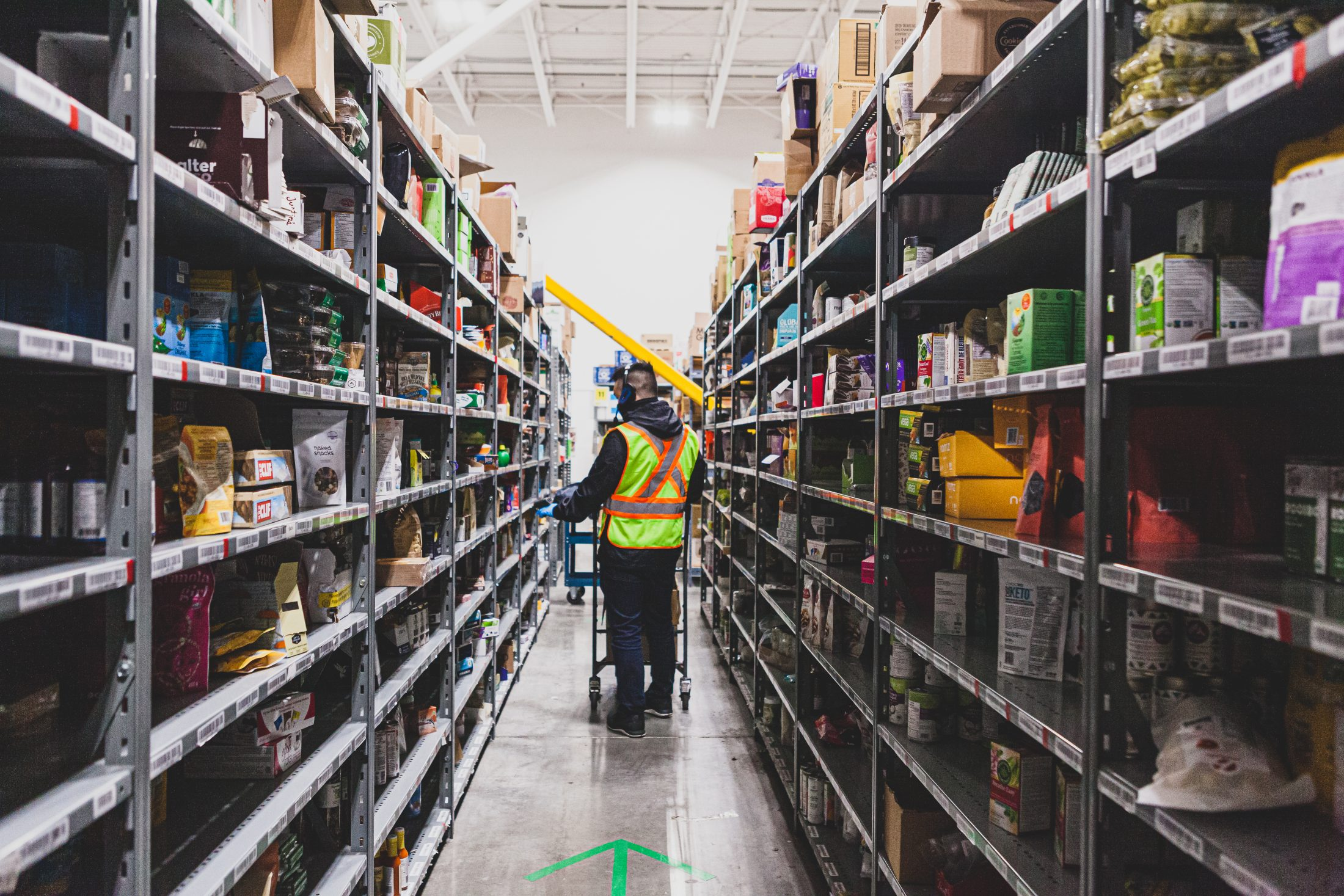 SPUD Warehouse worker in the aisle
